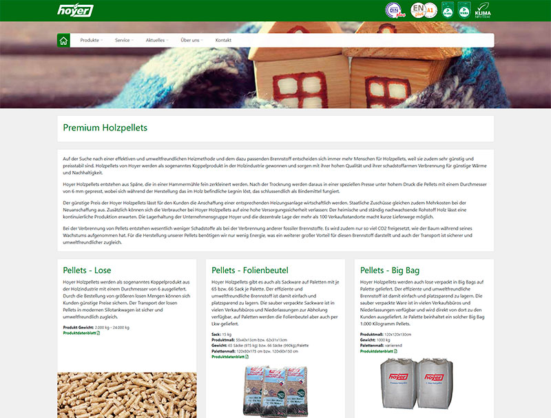 Hoyer Pellets Website